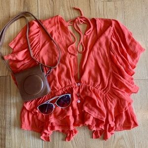 NWOT Free People Red Orange Cropped Flounce Top